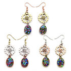 Women Retro Steampunk Gear Dangle Earring Beads Pendant Punk Metal Hook Earrings