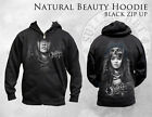SULLEN CLOTHING NATURAL BEAUTY INDIAN GIRL   ZIPPERED HOODIE TATTOO INK SKULL
