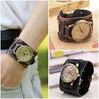 Fashion Vintage Brown Wristwatch for Men Women Leather Bracelet Quartz Wat