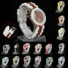 Geneva Rose Gold Quartz Sports Chrono Watch Silicone Jelly Strap Colour Choice