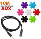 10M Male to Female Aux Stereo Audio Cable And 6 Way 3.5mm Headphone Splitter Hub