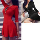 Women's Bodycon Cocktail Party Club Mini Dress Ladies Long Sleeve Shirt Dress