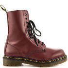 Mens Dr Martens Leather Designer Stylish 10 Eyelet Casual Boots in Cherry 1490
