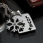 AgentX Snowflake & Love Pendant Stainless Steel Chain Lover Couple Necklace 2Pcs