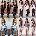 Toddler Baby Girls Hairband+T-shirt+pants kids Clothes Set Outfits Collection