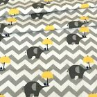 LOVELY ,grey chevron with yellow elephants  FABRIC 100%COTTON 160cm wide