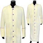 Clergy Robe Solid Cream Purple Piping Full Length Preacher Retail $200