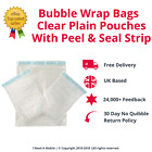 Bubble Wrap Bags - Clear Plain Pouches With Peel & Seal Strip - All Quantities