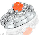 Round Mexican Orange Fire Opal Genuine Sterling Silver Engagement Ring Set