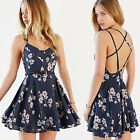 Womens Floral Shirred Elasticated Cami Vest Dress Top Long Summer Tank Blouse