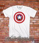 White T-Shirt with Captain America Shield Design - Super Hero   3XL 4XL 5XL