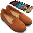 ollio Womens Shoes Ballet Flats Faux-Suede Cute Comfort Multi Colored