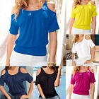 Summer Fashion Women Sexy Short Sleeve Cold Shoulder Top Casual Shirt Blouse New