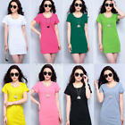 Women Summer Long Top Short Sleeve Blouse Ladies Casual Top T-Shirt Mini Dress