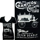 Se7en Deadly Embalming Fluid Womens V-Neck T-Shirt Gothic Seven Sins Punk