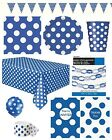 ROYAL BLUE POLKA DOT (SPOTS) Tableware, Decorations, Balloons & Party Range
