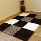 LARGE MODERN 5CM SHAGGY HIGH QUALITY BROWN MULTI COLOUR DISCOUNT RUGS