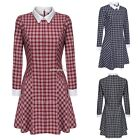 Women Fashion Casual Doll Collar Long Sleeve Plaid Patchwork Dress PINP