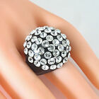 Black Acrylic Domed Ring Clear Swarovski Elements Crystal Rows Dome Luna Bianca