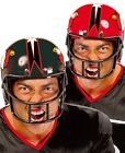 Mens American Football Quarterback Black Red Helmet Fancy Dress Costume Hat