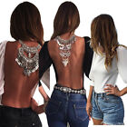 Sexy Women Backless Tops T-Shirt Long Sleeve Casual V-Back Open Back Blouse IMT7