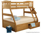 Sweet Dreams Epsom Triple Sleeper Bunk Bed Frame with Draws available in Oak or