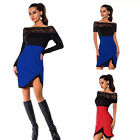 New Women Sexy Off Shoulder Short Sleeve Bodycon Cocktail Lace Slim Mini Dress