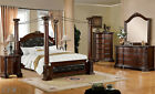 NEW 4PC MANDALAY CANOPY BROWN CHERRY FINISH WOOD QUEEN KING BEDROOM SET