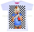 Mens Cool Vintage Retro Bong Blonde Smoking Punk Manga Finger T-shirt - Sale