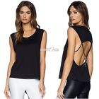 Women Sexy Sleeveless O-Neck Loose Backless T-Shirt Blouse Party Clubwear S0BZ