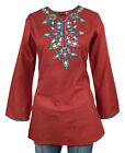 Ladies Indian Long Sleeve Kurta-Kurti Tops Red KL6683 Various Sizes