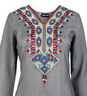 Ladies Indian Long Sleeve Kurta-Kurti Tops Grey KL6687 Various Sizes