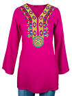 Ladies Indian Long Sleeve Kurta-Kurti Tops Pink KL6566 Various Sizes