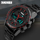 New SKMEI Men Black Stainless Steel LED Date Dual Time Analog Digital Wristwatch