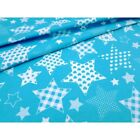 LOVELY ,turquoise and white with multi stars  FABRIC 100%COTTON 160cm wide