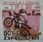 ALL AMERICAN GIRL GIRLS RULE BOYS DROOL DIRT BIKES COUNTRY SHIRT #53