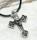 GOTHIC SKULL CROSS Pewter Pendant Leather Necklace Surf