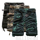 Casual Mens Summer Cotton Army Camo Combat Cargo Shorts Pants Trousers 1/2