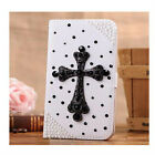 Bling Luxury 3D Crystal Black Cross Wallet Case For iphone 6 6plus 5s 5 5c 4s 4