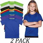2-PACK-Active By Stedman Childrens Crew Neck Short Sleeve 140 Raglan T-Shirt