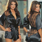 Womens Sexy Lingerie Satin Lace Kimono Intimate Sleepwear Robe Night Gown hot