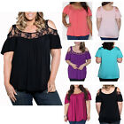Fashion Women Summer Plus Size Lace Short Sleeve Shirt Loose Casual Blouse Tops