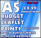 BUDGET LEAFLET / FLYER PRINTING / ADVERTISING 100GSM WHITE A5