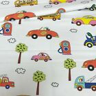 LOVELY , multicolored cars and bikes on white FABRIC 100%COTTON 160cm wide