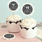 24 Personalized Custom Chalkboard Wedding Cupcake Wrappers & Toppers