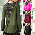 Sexy Women V-neck Tops Tee Long Sleeve Shirt Casual Blouse Loose Lace T-shirt
