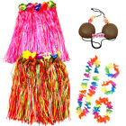 LADIES HULA SKIRT FLOWER LEI GARLAND WRISTBANDS HEADBAND FANCY DRESS COSTUME