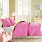 Reversable Hot Pink Vibrant Coverlet Set With Dot Pattern