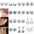 Women Girl Ear Piercing Studs Earrings 925 Sterling Silver Crystal Studs Various