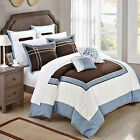 Ballroom Blue, Brown & White 7 Piece Comforter Bed In A Bag Set